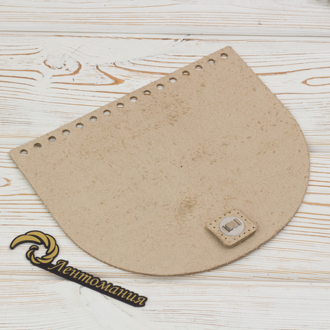 Клапан для сумочки кожаный с магнитной застежкой Кремовый