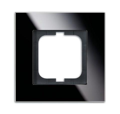 Рамка на 1 пост. Цвет Чёрное стекло. ABB(АББ). Carat(Карат). 1754-0-4322
