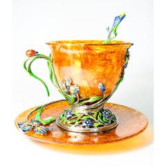 """Чайная чашка из янтаря """"Ирис"""""""