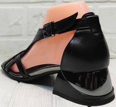 Черные кожаные босоножки сандалии с закрытой пяткой женские Evromoda 166606 Black Leather.