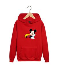 Толстовка красная с капюшоном (худи, кенгуру) и принтом Микки Маус (Mickey Mouse) 001