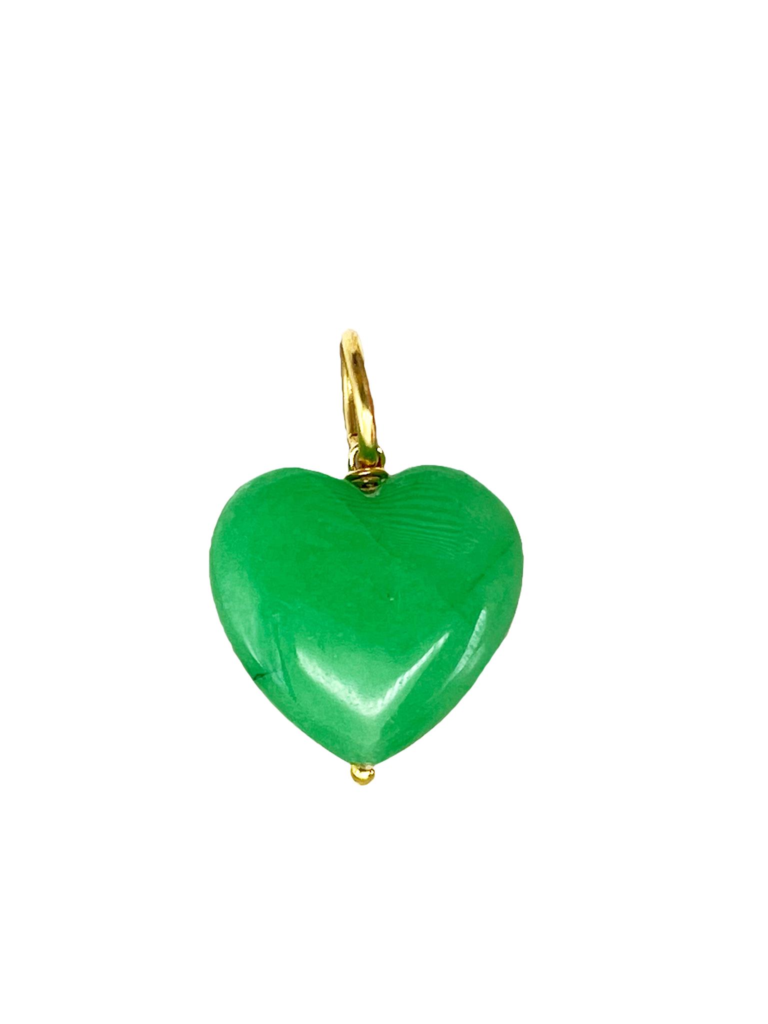 Подвеска Сердце из камня 20 мм / jade /
