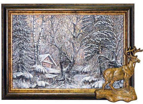"""Картина на бересте """"Олень 2"""" (пейзаж №14)"""