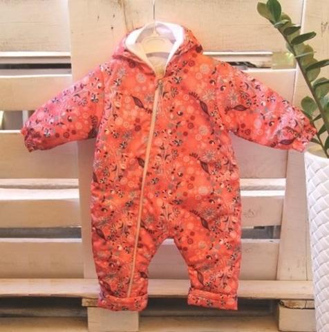 Детский комбинезон осень весна для малышей Цветущий луг розовый
