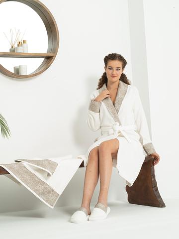 Coco Chanel  кремовый женский халат с полотенцем и тапочками Tivolyo Home (Турция)