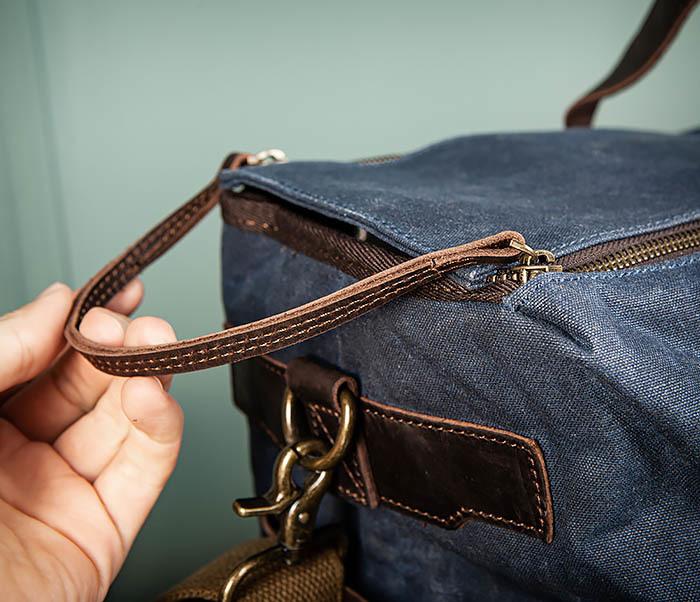 BAG499-3 Большая сумка из ткани синего цвета с ремнем на плечо фото 07