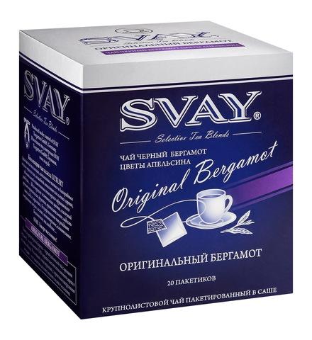 Чай Svay Original Bergamot (Оригинальный бергамот) черный крупнолистовой в саше (20 саше по 2 гр.)