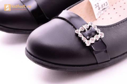 Туфли для девочек из натуральной кожи на липучке Лель (LEL), цвет черный. Изображение 14 из 20.