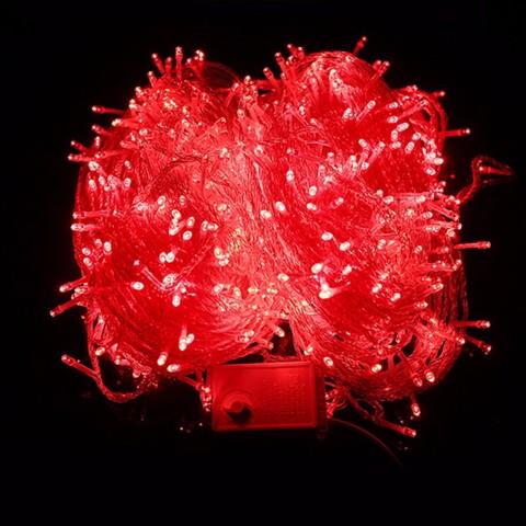 Гирлянда красная 500 LED для украшения дома елки ели сосны лед