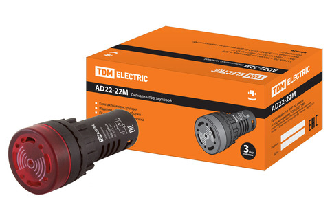 Сигнализатор звуковой AD22-22M/r23 d22 мм (LED) индикация 24В DC/AC красный TDM