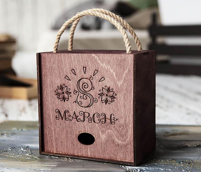 BOX220-3 Деревянная коробка для подарков «8 MARCH» (17*17*10 см)