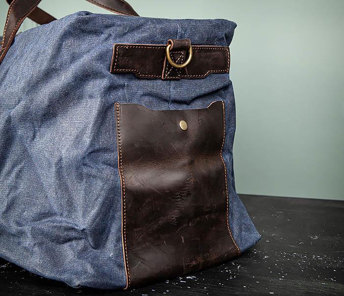 BAG499-3 Большая сумка из ткани синего цвета с ремнем на плечо фото 08