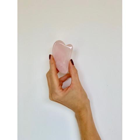 Скребок гуаша для массажа- Сердце Mini (розовый кварц, 7 см)