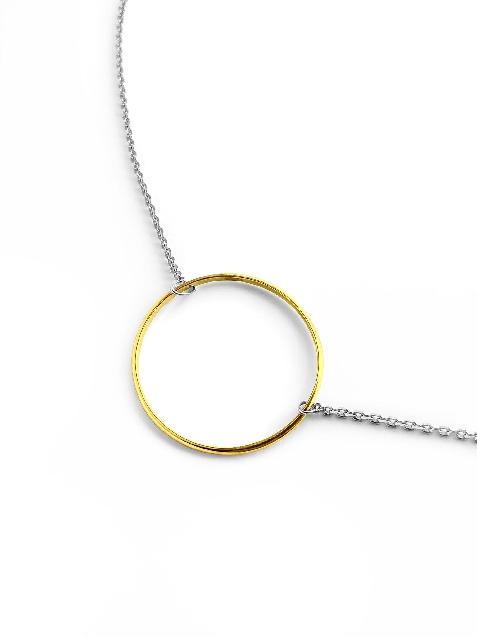 Серебряное колье с позолоченным кольцом, 30 мм
