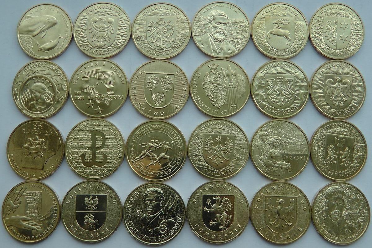 Набор из 24 монет номиналом 2 злотых. Годовой набор. 2004 год, Польша. UNC