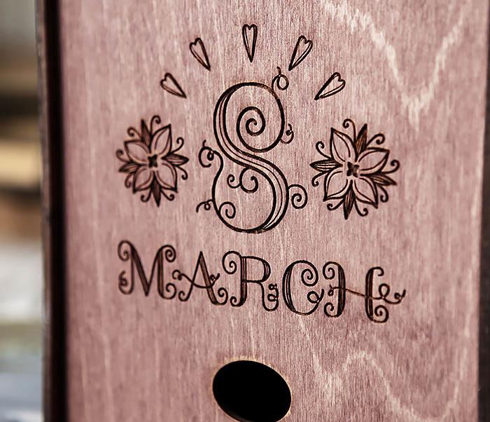 BOX220-3 Деревянная коробка для подарков «8 MARCH» (17*17*10 см) фото 02