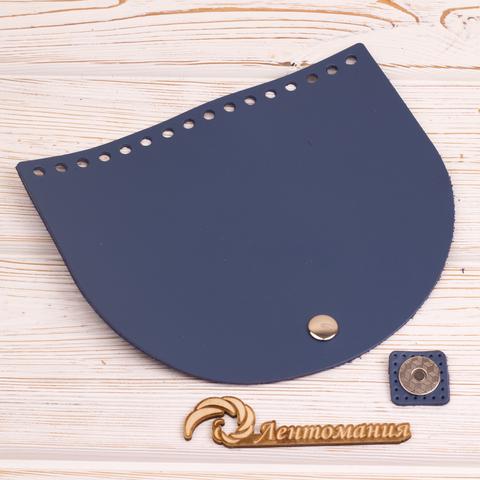 """Клапан для сумочки с магнитной застежкой кожаный """"Синий"""" 19*16 см"""