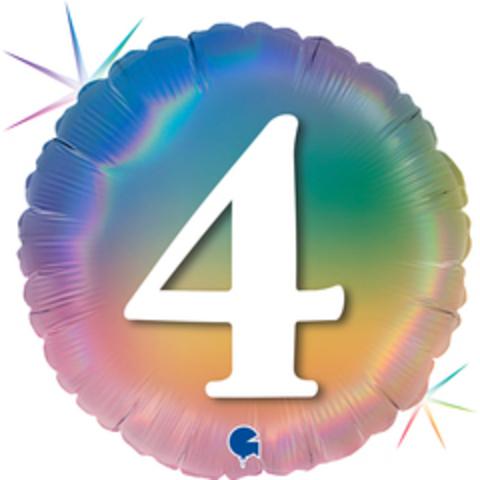 Г Круг 4 Цифра, Радужный, Голография, 18