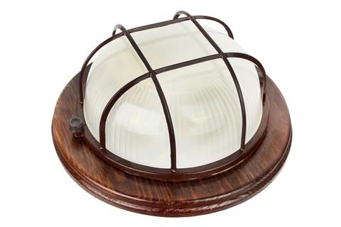 Влагозащищенный светильник Camelion 1301D орех (круглый с решет. 60W)