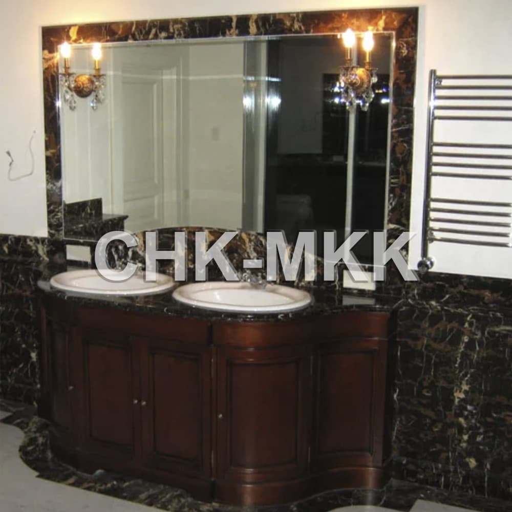 Отделка ванной комнаты мрамором Блэк Энд Голд - Италия