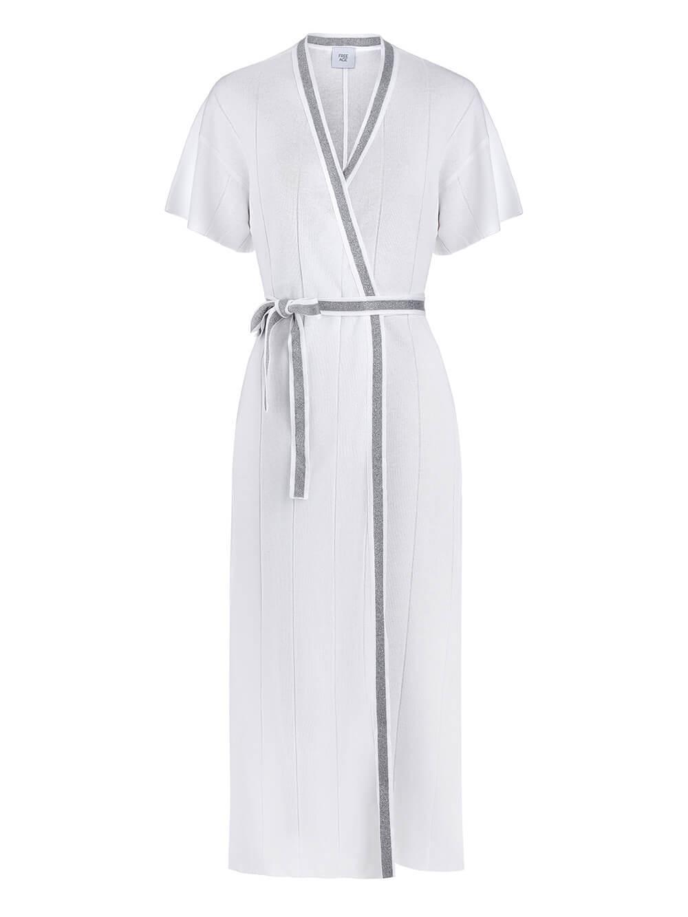 Женское платье-кимоно с поясом молочного цвета из вискозы - фото 1