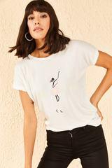 Qadın üçün şəkilli ağ t-shirt 10701051