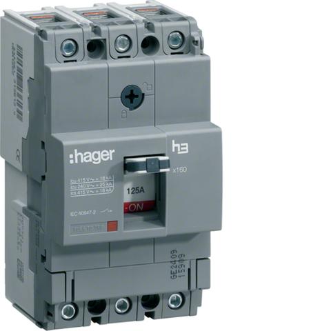 Автоматический выключатель, x160, TM рег.уст.терм., 3P 25kA 125-80A, 440В АС