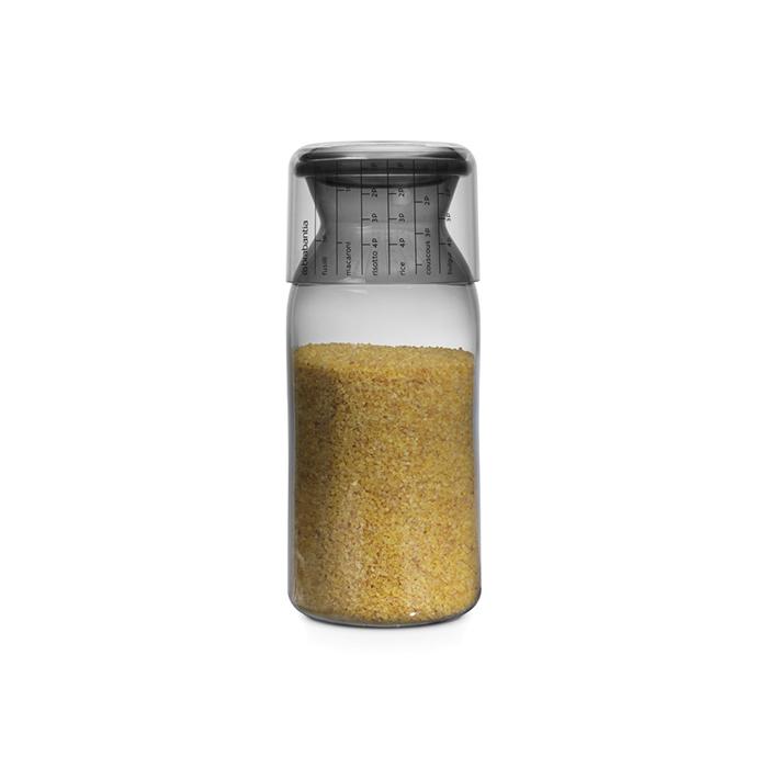 Пластиковая банка с мерным стаканом (1,3 л), Серый, арт. 291005 - фото 1