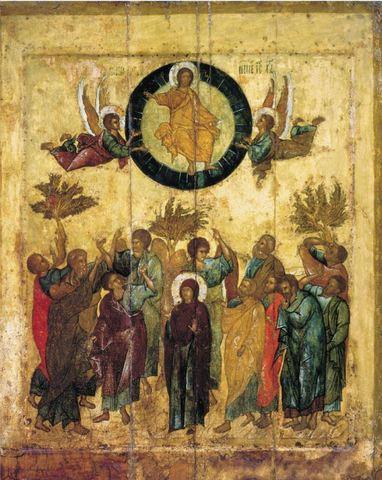 Икона Вознесение Господне на дереве на левкасе мастерская Иконный Дом