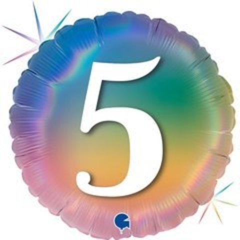 Г Круг 5 Цифра, Радужный, Голография, 18