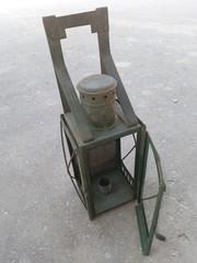 Фонарь СССР малый зеленый без патрона 1949 года