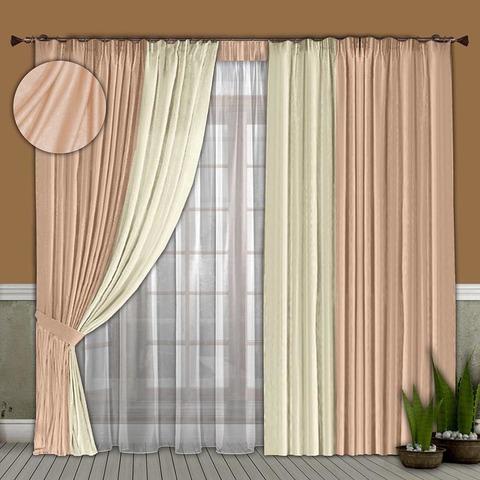 Комплект штор и тюль  Бриджит  нежно-розовый