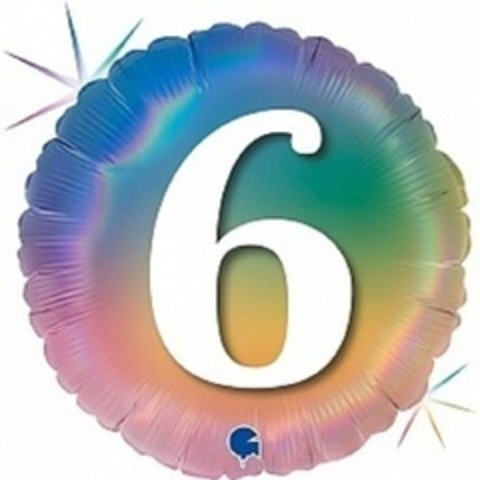 Г Круг 6 Цифра, Радужный, Голография, 18