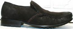 Кожаные мужские мокасины на меху Welfare 555841 Dark Brown Nubuk & Fur