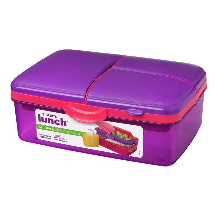"""Ланч-бокс с бутылкой Sistema """"Lunch"""", 4 секции, 1,5 л, цвет Фиолетовый"""
