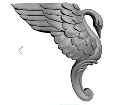 Силиконовый молд № 2347   Ножка  Лебедь  правый  2 D