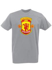 Футболка с принтом FC Manchester United (ФК Манчестер Юнайтед) серая 002