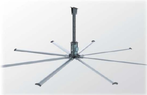 4,38 метра, 8 лопастей | Вентилятор потолочный HVLS для ферм