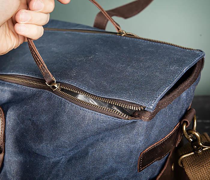 BAG499-3 Большая сумка из ткани синего цвета с ремнем на плечо фото 13
