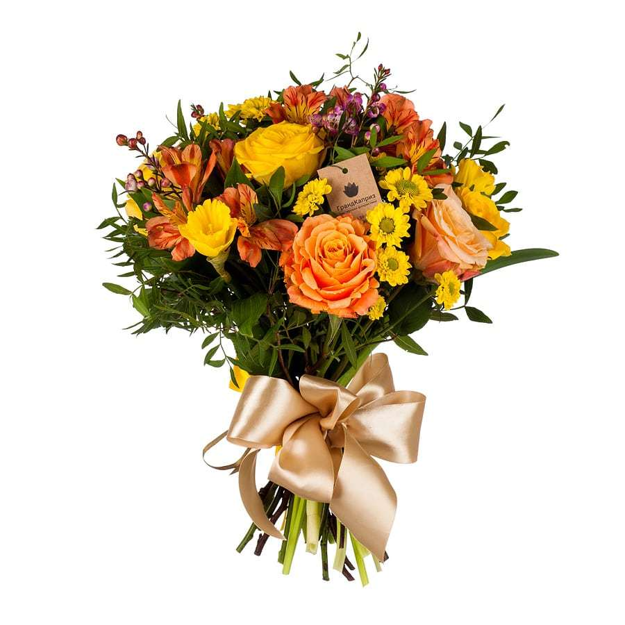 Букет из роз и альстромерий - Пряный цвет