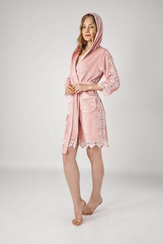 Женский велюровый халат с капюшоном 0445 пудра NUSA Турция