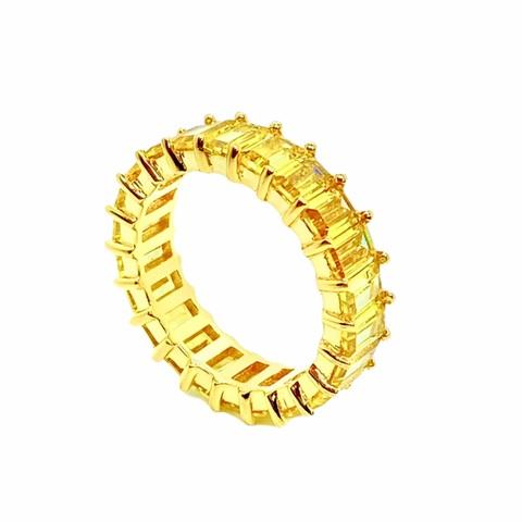40029 - Кольцо-дорожка из золоченого серебра с желтыми цирконами