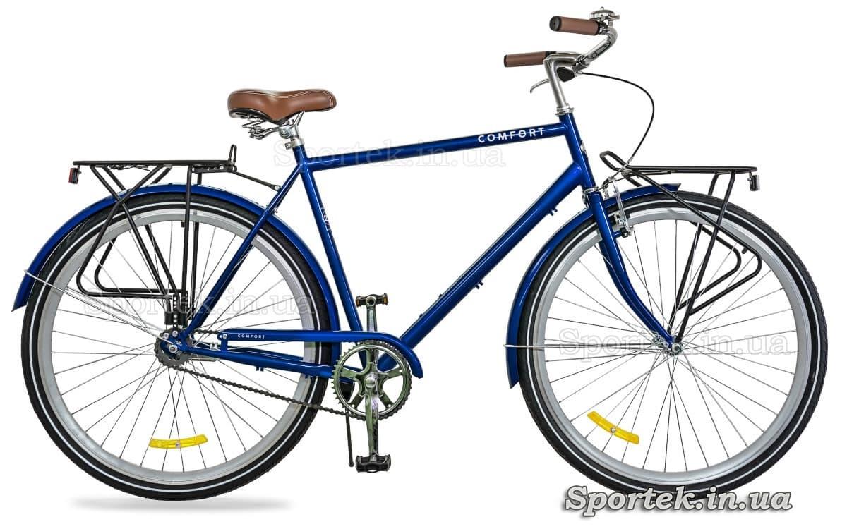 Городской мужской велосипед Dorozhnik Comfort Male 2018 синего цвета