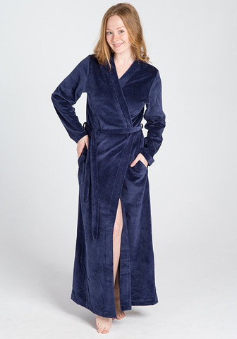 Темно-синий женский велюровый халат
