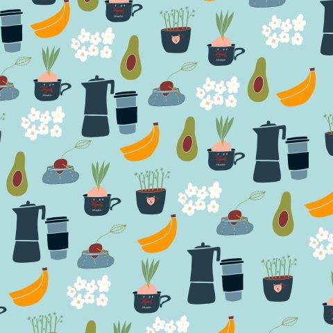Кофе, авокадо и цветы