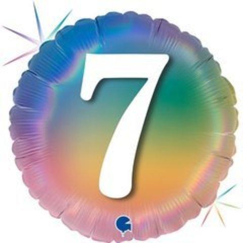 Г Круг 7 Цифра, Радужный, Голография, 18