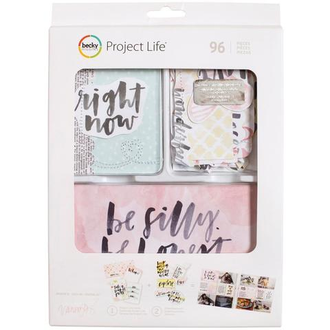 Kit набор карточек и украшений для Project Life -Inspired W/Stitching & Die-Cuts-  96шт