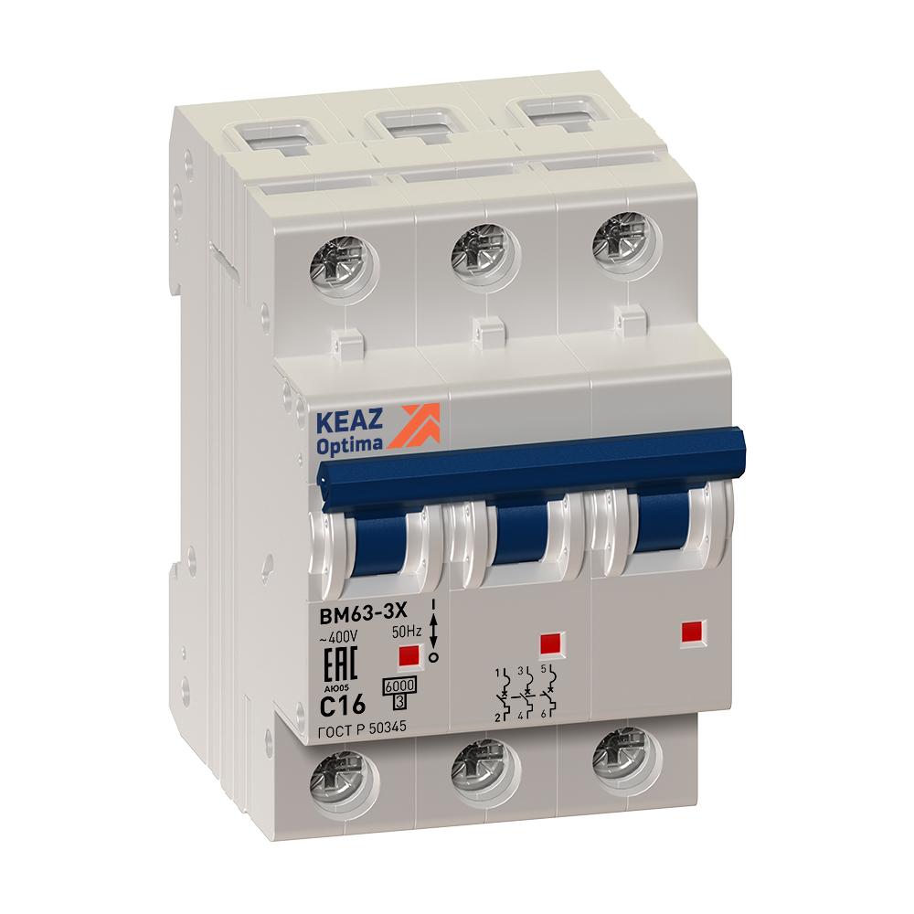 Выключатель автоматический модульный OptiDin BM63-3C16-УХЛ3 (ВМ63)