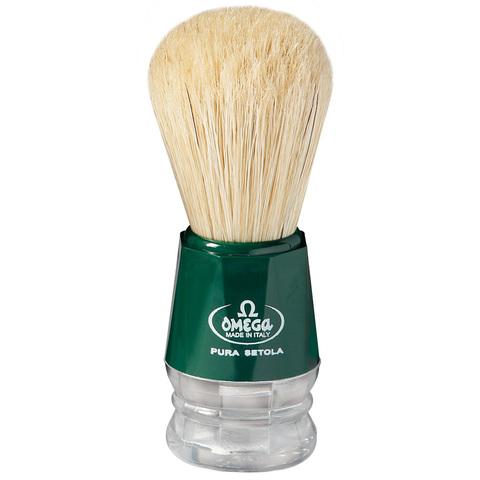 Помазок для бритья Omega натуральный кабан зеленый 10018