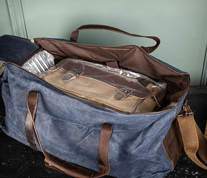 BAG499-3 Большая сумка из ткани синего цвета с ремнем на плечо фото 15